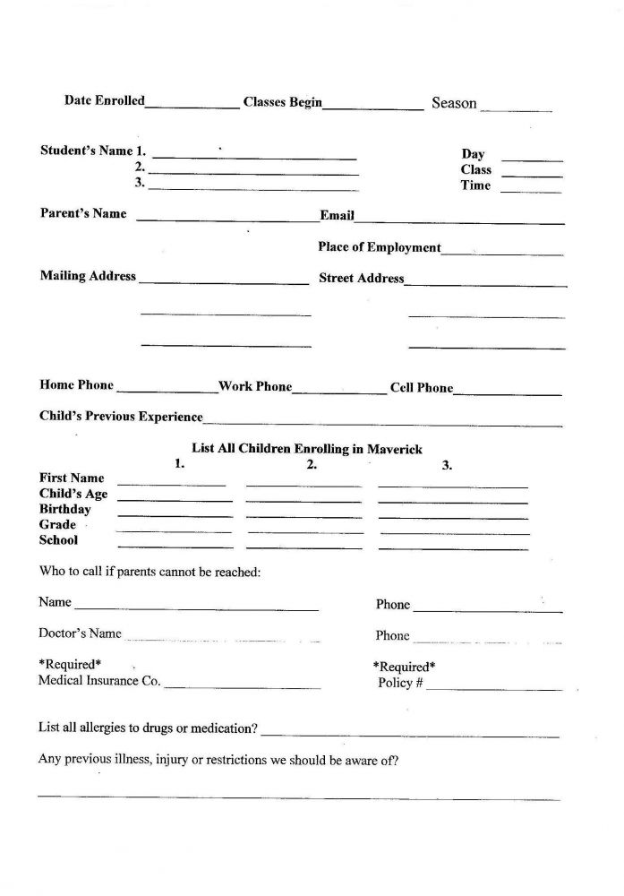 Maverick Registration Forms | Maverick Gymnastics